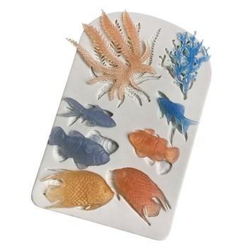 Силиконовый молд Рыбки с водорослями - фото 10275