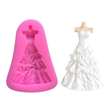 Силиконовый молд Свадебное платье - фото 10354