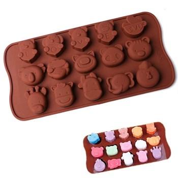 Силиконовая форма для шоколада Мультяшные животные - фото 10426