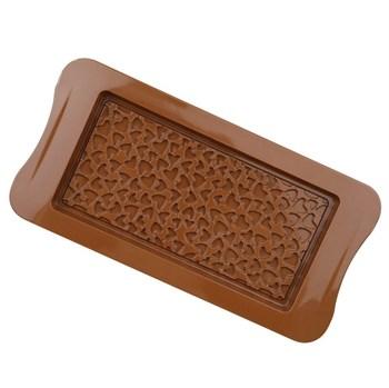 Силиконовая форма для шоколада Плитка с сердечками - фото 10470