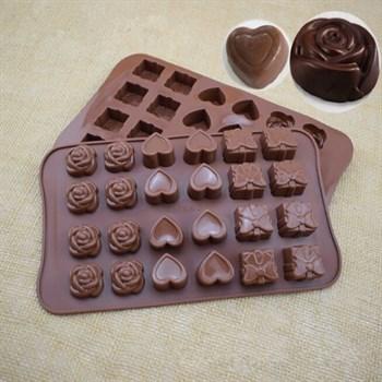 Силиконовая форма для шоколадных конфет Ассорти - фото 6989