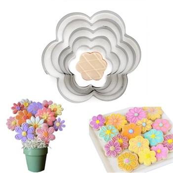 Формы для печенья Цветы (металл) 5 шт - фото 7209
