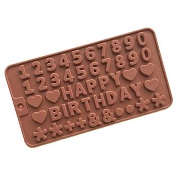 Силиконовая форма для шоколада Happy Birthday - фото 7213