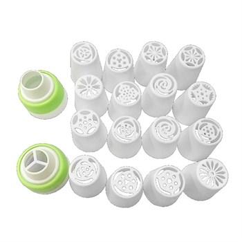 Набор пластиковых кондитерских насадок 16 насадок+ переходник - фото 7359