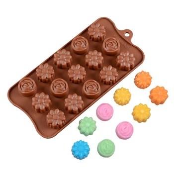 Силиконовая форма для шоколада Цветочки - фото 7406