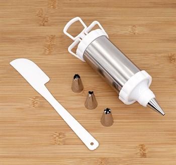 Кондитерский шприц, нож + 4 насадки - фото 7521