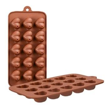 Силиконовая форма для шоколада Сердце с каплей - фото 7586