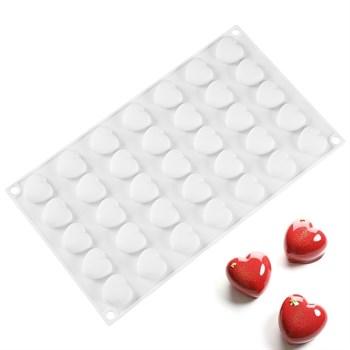 Силиконовая форма для шоколада Плоские Сердечки - фото 7687