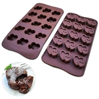 Силиконовая форма для шоколада Пара Сердец - фото 7804