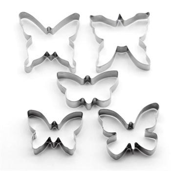 Металлический набор для печенья Бабочки (5 шт) - фото 8341