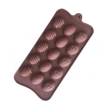 Силиконовая форма для шоколада Яйца ассорти - фото 8617