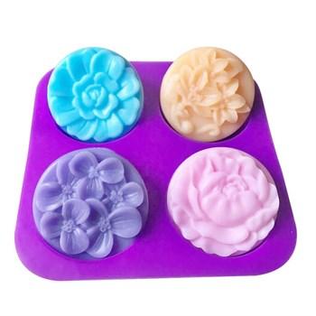 Силиконовая форма для мыла Цветы 4 шт. - фото 9510