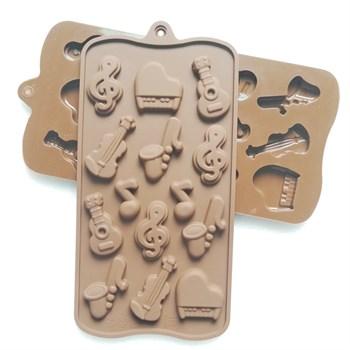 Силиконовая форма для шоколада Ноты и Музыкальные Инструменты - фото 9535