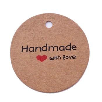 Этикетка-бирка Handmade with love (25 шт) - фото 9679