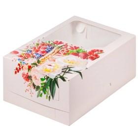 """Коробка на 6 капкейков с """"печатью и окном"""""""
