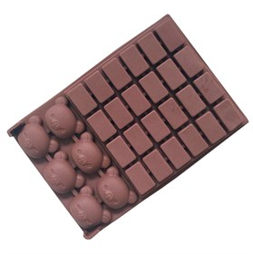 Силиконовая форма для шоколада Медвежонок с фигурками