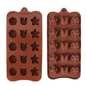 Силиконовая форма для шоколада Цветы Микс